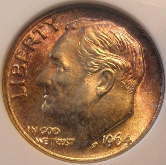 1964-D Roosevelt Dime - ANACS MS67 - Nice Color Toned