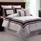 8pc Sgpr Ivory/Plum Luxury Bedding Set!!!!!