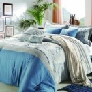 8pc Luxury Bedding Set- PF. Silver / Blue
