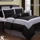8pc Luxury Bedding Set- Hotel Black/White/Grey
