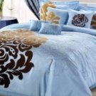8pc Luxury Bedding Set Lakhany Brown/Blue!!!!!