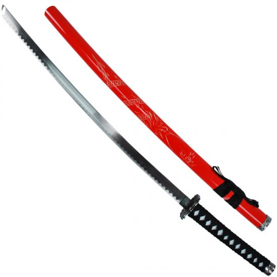 Single Sword with Dragon Scabbard- Red