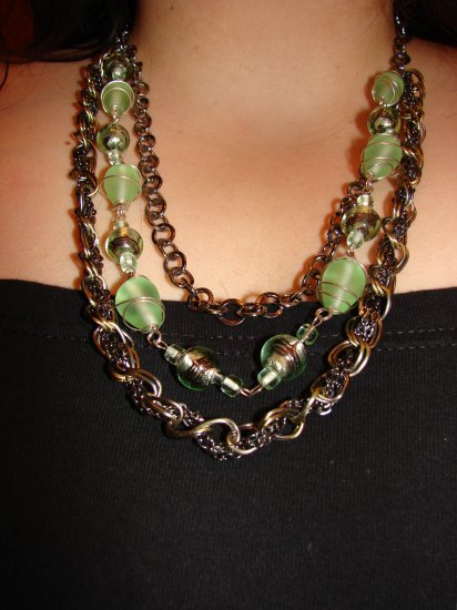 Exclusive Chain Necklace with Wire Wrapped Beads