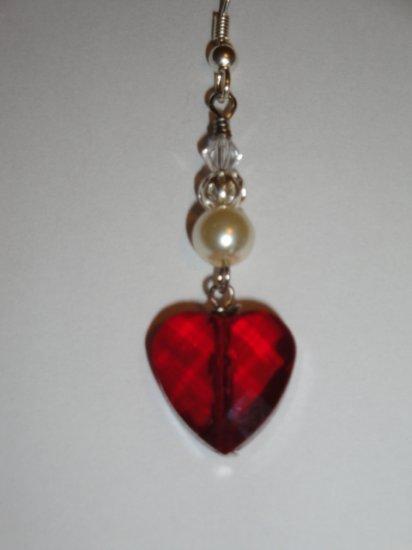 Red Heart Dangling Earrings