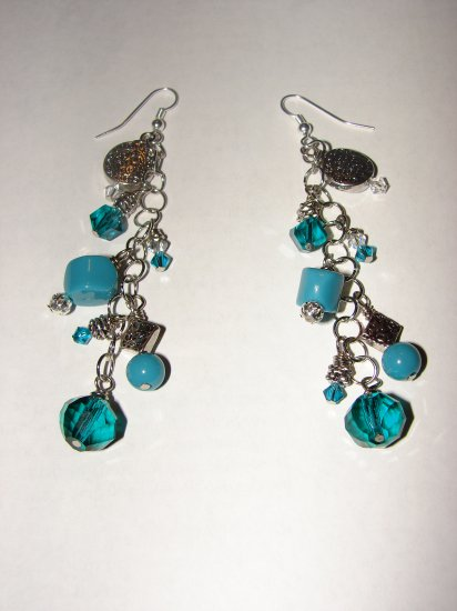 Extra long Dangling Turquoise and Charm Earrings