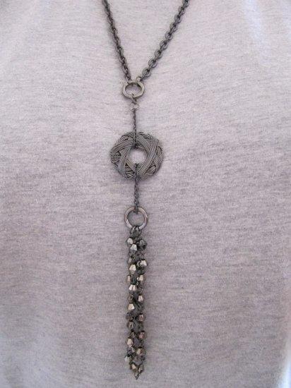 Silver Metal Donut Pendant Necklace