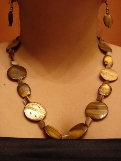 Mother of Pearl and Shell Necklace and Earrings
