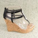 Embellished Stone Platform Wedge Sandals Cork Blk Sz 9