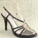 Women Rhinestone Platform High Heel Sandals Black Sz 6