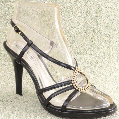 Women Rhinestone Platform High Heel Sandals Black Sz 7