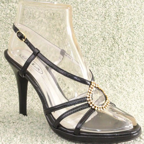 Women Rhinestone Platform High Heel Sandals Black Sz 8