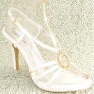 Women Rhinestone Platform High Heel Sandals White Sz 9