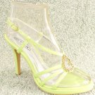 Women Rhinestone Platform High Heel Sandals Green Sz 7
