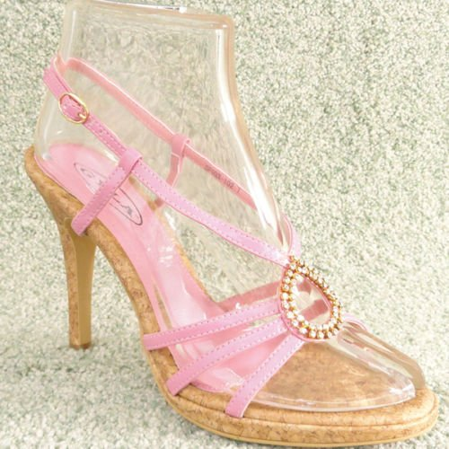 "4"" Women Rhinestone High Heel Sandals Cork Pink Sz 7"