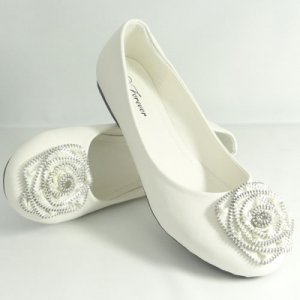 Flat Ballet Shoes Zipper trimmed Flower White Sz 10