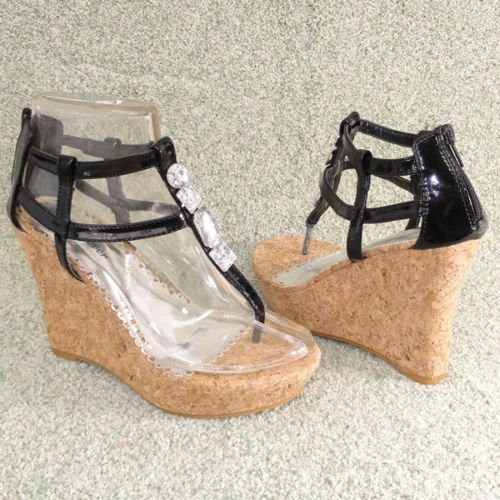 Women Platform Wedge Ankle Strap Sandals Cork Blk Sz 6