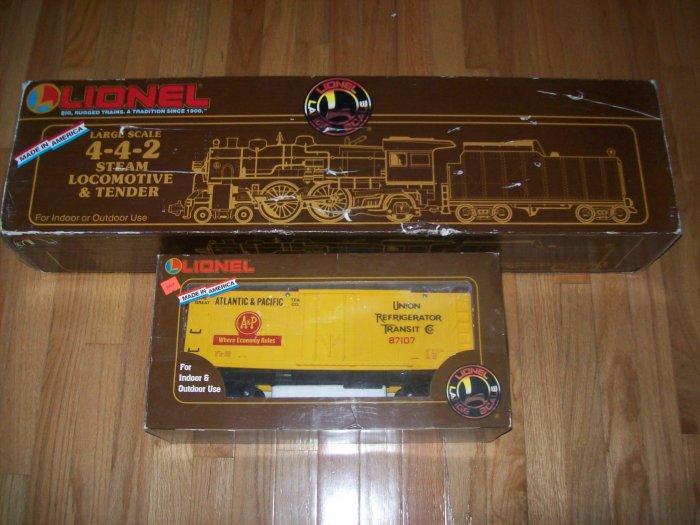 LIONEL LARGE SCALE G STEAM TRAIN & TENDER 8-85106 + A  & P CAR 8-87107