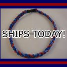 Titanium Baseball Sport Necklace BLUE & RED