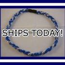 Titanium Baseball Sport Necklace BLUE & WHITE