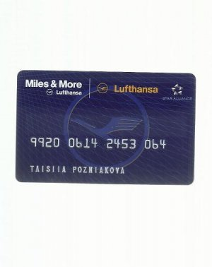 LUFTHANSA AIRLINES MILES AND MORE FREQUENT FLIER CLUB CARD
