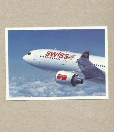 SWISS AIR AIRBUS A330 AIRCRAFT AIRLINE ISSUED PROMOTIONAL POSTCARD