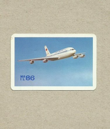 AEROFLOT IL86 ILYUSHIN AIRLINER 1981 RUSSIAN AND ENGLISH LANGUAGE CREDIT CARD SIZE POCKET CALENDAR
