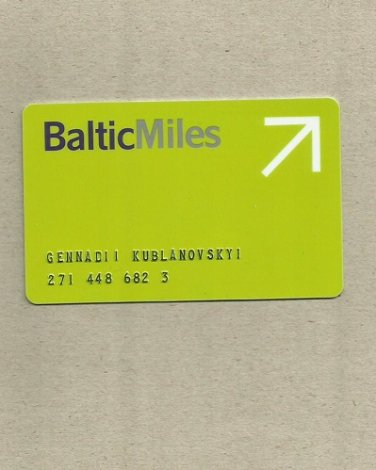AIRBALTIC AIR BALTIC BALTIC MILES FREQUENT FLIER CLUB CARD