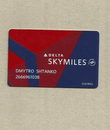 DELTA AIRLINES SKYMILES FREQUENT FLIER CLUB CARD