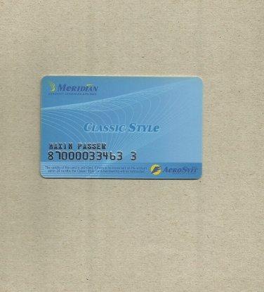 AEROSVIT UKRAINIAN AIRLINE MERIDIAN CLASSIC STYLE FREQUENT FLIER CLUB CARD