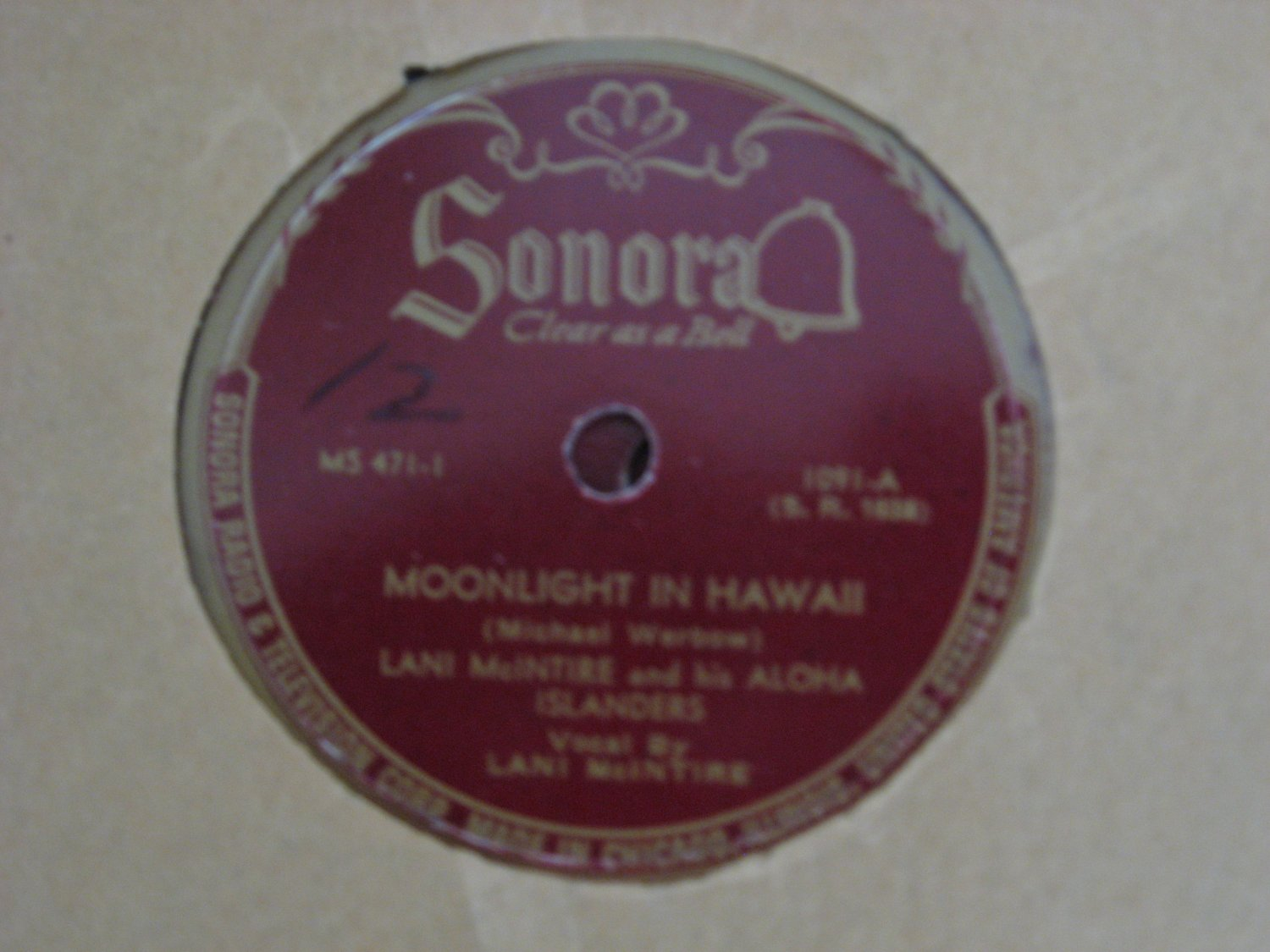 Lani McIntire - Moonlight In Hawaii/Drowsy Waters - 1945  (Vinyl Records)
