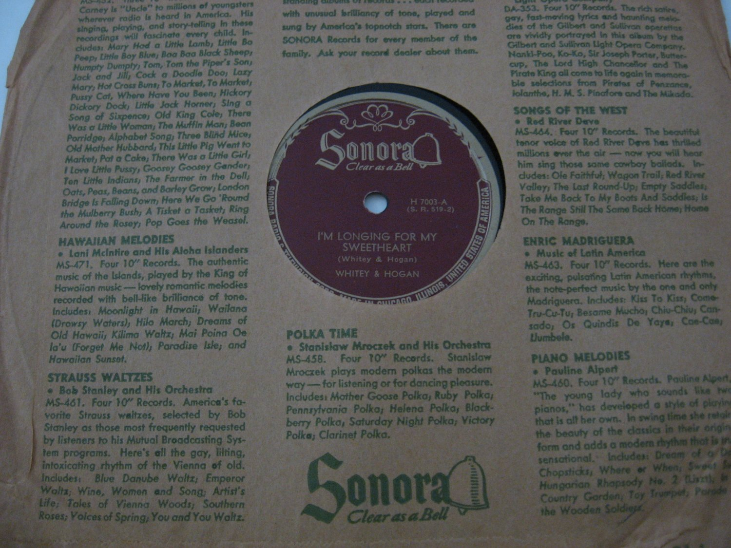 Whitney & Hogan - Talking To Mother/I'm Longing For My Sweetheart - 1949  (Vinyl Records)