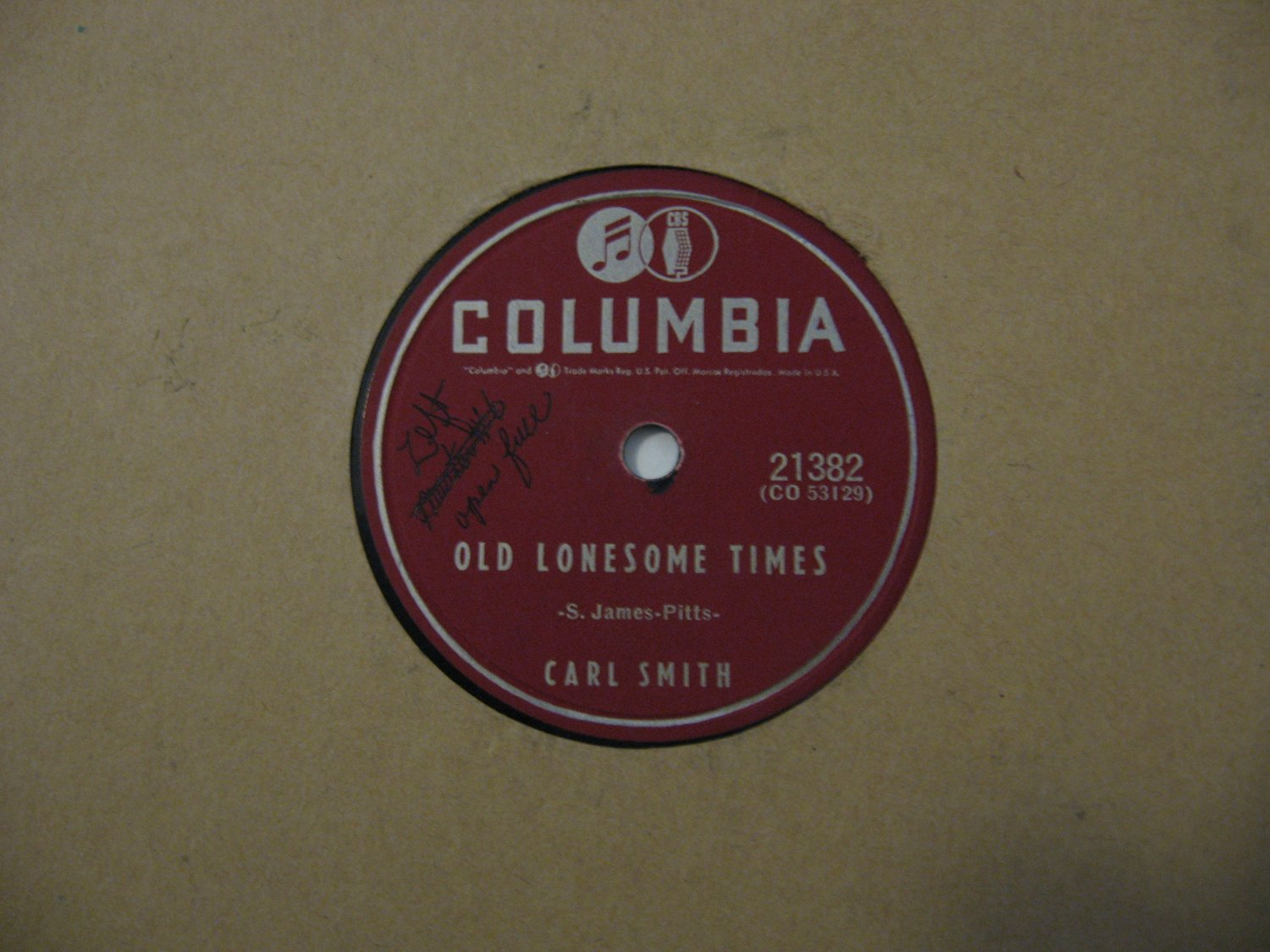 Carl Smith - Old Lonesome Times / There She Goes - 1955 (Vinyl Records)