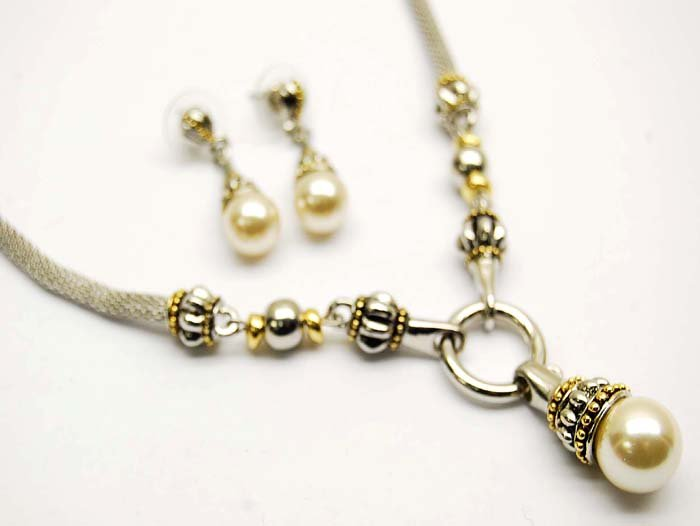 Brighton-Inspired pearl silver and gold  necklace and earring set