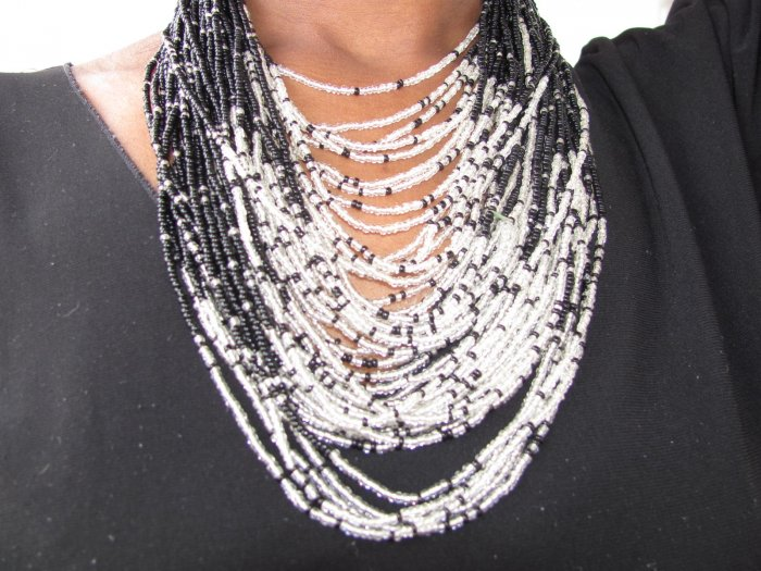 Black and White Multi-string Necklace