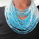 Blue and White Multi-String Necklace