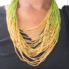 green and gold multi-string necklace