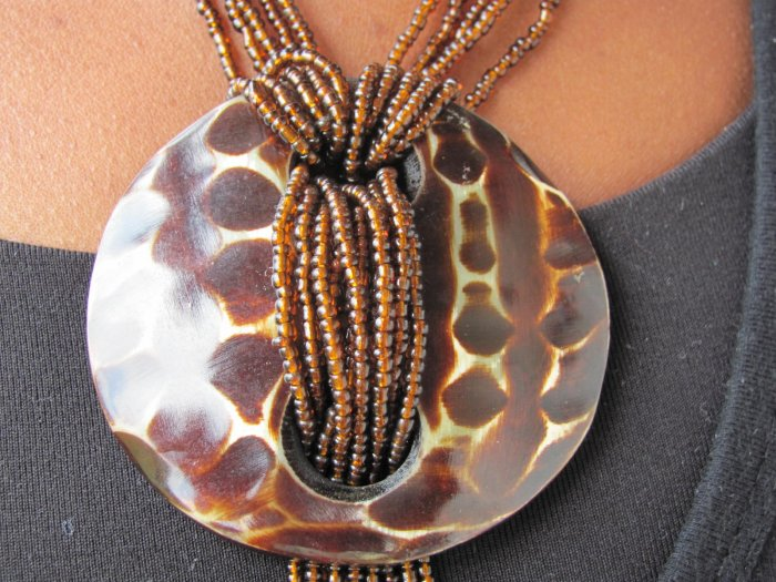 brown multi-string necklace