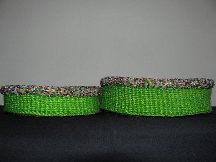green weaved beaded baskets