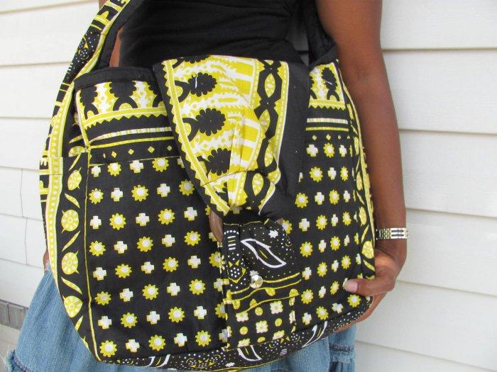 yellow brown hand bag