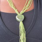 green multi-string short necklace