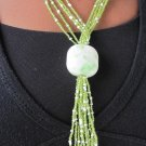 white and green multi-string short necklace