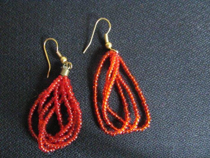 red multi-string earrings