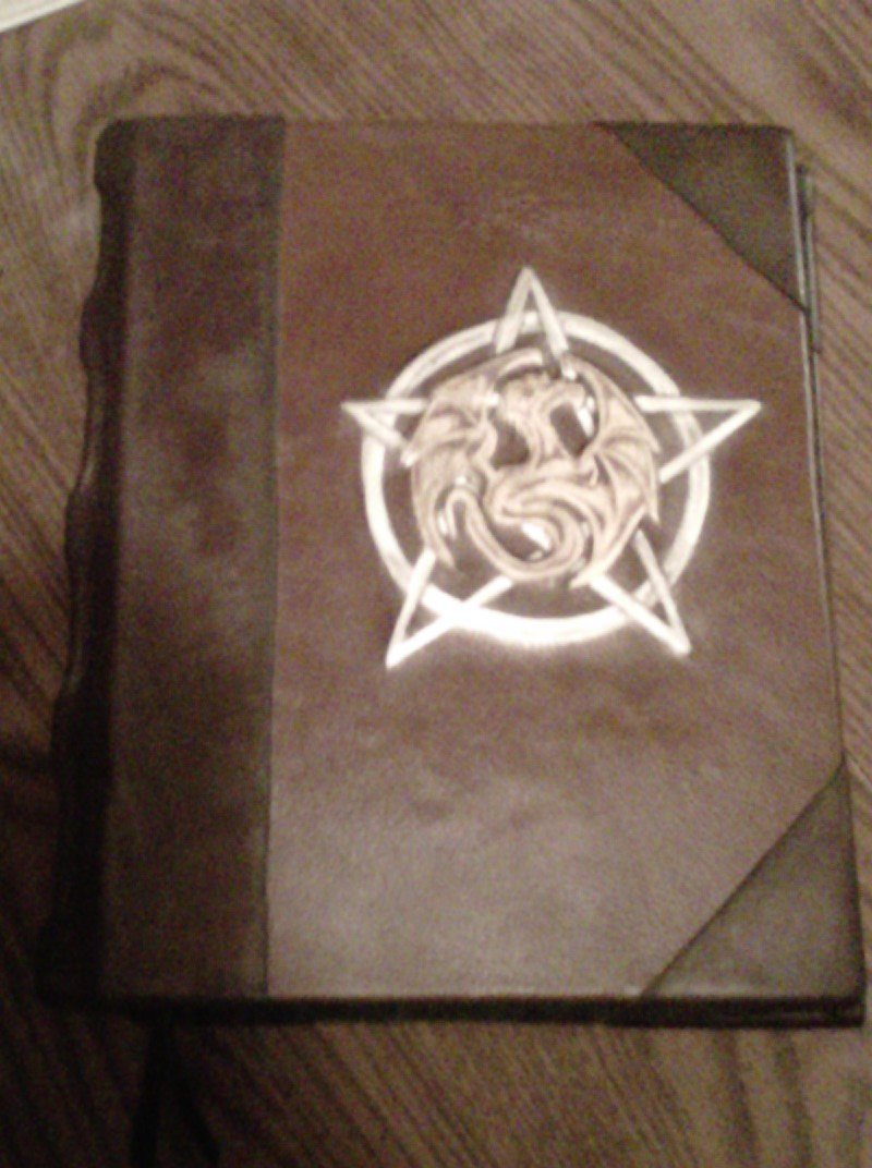 Blank Book of Shadows Pentagram and Dragon