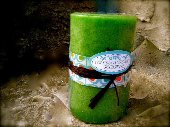 Bamboo Teak Pillar Candle 12oz