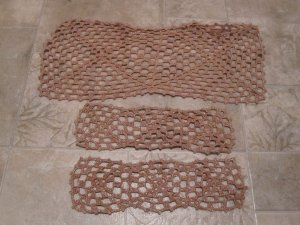 3 Vintage coffee table doilies brownish w/ gold flecks