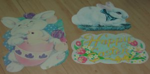3 vintage Easter window decorations