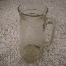 Vintage glass barware or tableware pitcher with handle