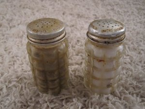 Vintage salt & pepper shakers with waffle design