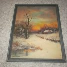 William Thompson framed art print winter cottage scene