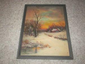 William Thompson framed art print winter cottage scene